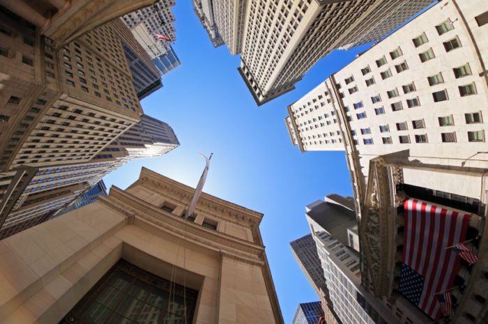 Fish-eye view of Wall Street buildings - New York City, USA